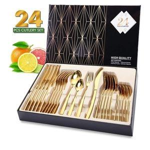 24-Piece Stainless Steel Gold Silverware Set